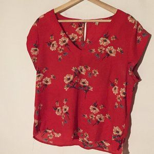 LILY WHITE Blouse Red Floral XL Women's